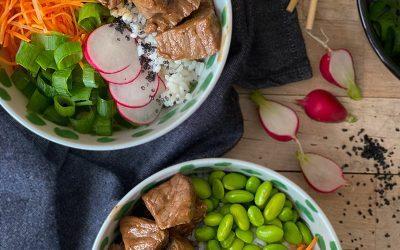 Beef poké bowl met homemade teriyaki marinade