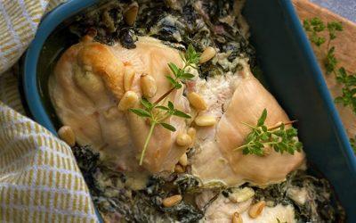 Gevulde kipfilet met spinazie, feta en pijnboompitjes